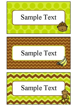 Printable Blank Labels in Monkey Theme