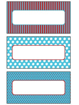 Printable Blank Labels in Primary Colors Theme
