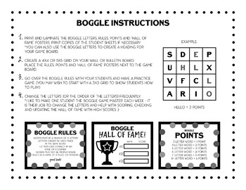 Printable Boggle Letters - Black and White