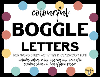 picture regarding Printable Poster Letters called Printable Boggle Letters - Colorful Topic