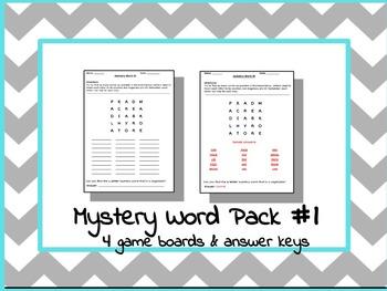 Printable Boggle Word Game With BONUS Mystery Word Challenge (Pack #1)