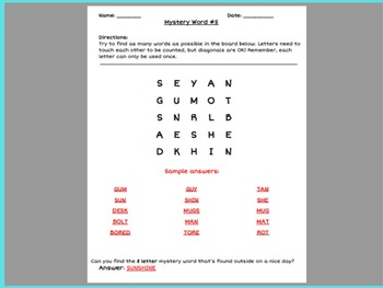 Printable Boggle Word Game With BONUS Mystery Word Challenge (Pack #2)