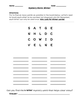 photo regarding Word Game Printable named Printable Boggle Phrase Recreation With Reward Solution Term Issue: Wintertime Terms