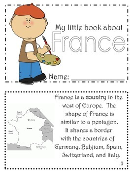 Printable Book with Facts about France for Students, Kids, Children