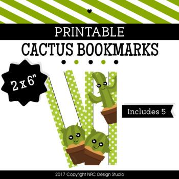 Printable Bookmarks, Cactus Printable, Reading - Classroom Handouts