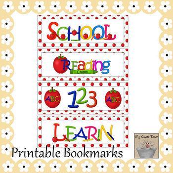 Printable Bookmarks School on White