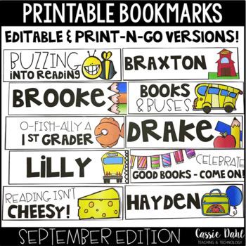 image regarding Printable Bookmarks identified as Printable Bookmarks - September (Editable)