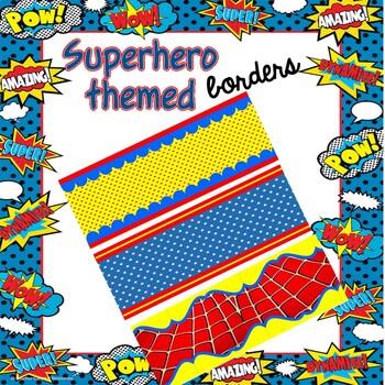 Printable Borders - SUPERHERO Themed