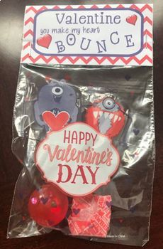 Printable Bouncy Ball Valentines Day tags