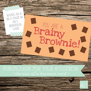 Printable Brainy Brownie Punchcard for Students