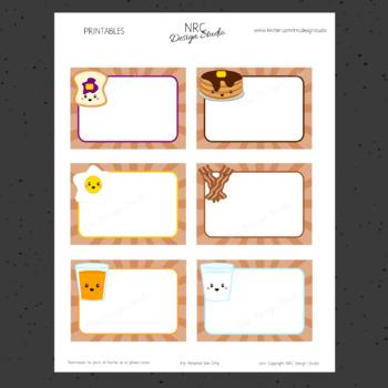 Printable Tags, Breakfast Food, Labels, Kawaii Tags - Classroom Decoration