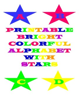 Printable Bright Colorful Alphabet Letters With Stars