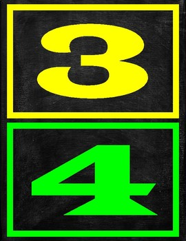 Printable Bright Colorful Numbers With Borders With Chalkboard Background