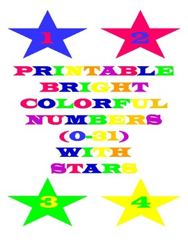 Printable Bright Colorful Numbers With Stars
