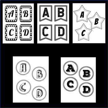 Printable Bulletin Board Letters BUNDLE  ~SETS 1-5~