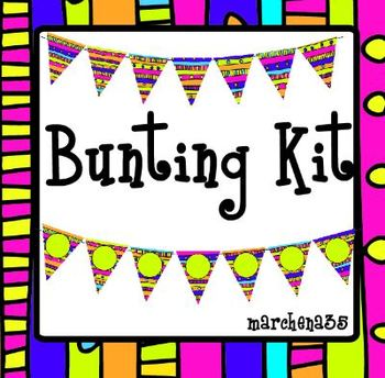 Printable Bunting Kit Including Large Alphabet Bunting, Mini Bunting etc