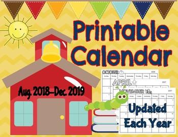Printable Calendar (Aug. 2016- Dec. 2017)