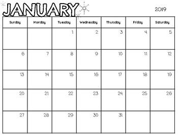 Printable Calendar (Aug. 2018- Dec. 2019)
