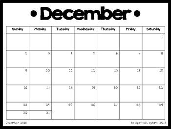 Printable Calendar (November 2017- December 2018)