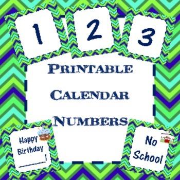Printable Calendar Numbers (Editable)