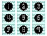 Calendar Numbers 1-36 {Turquoise Chevron}