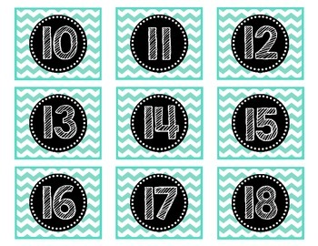 Calendar Numbers 1-36 {Turquoise Chevron}