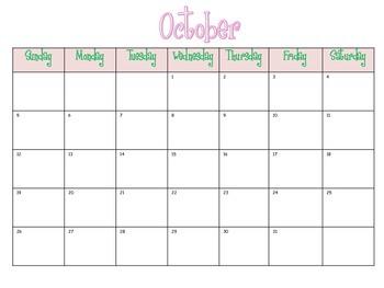Printable Calendar: Pink & Green 2014-2015