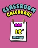 Printable Calendar for Classroom