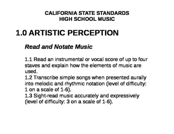 Printable California State Standards for Music (High School)