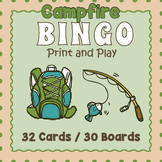Camping Themed BINGO & Memory Matching Card Game Activity