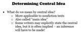 Printable Central Idea Notes for an ELA Composition Notebook