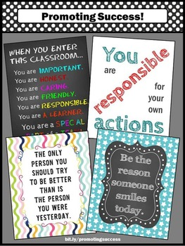 Classroom Rules Poster Set, Motivational Quotes, Inspirational Signs