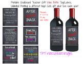 Printable Chalkboard Wine or Liquor Bottle Labels for Teachers - 6 different