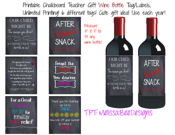 Printable Chalkboard Wine Or Liquor Bottle Labels For Teachers 6 Different