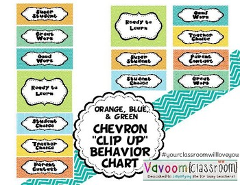 "Printable Chevron ""Clip Up"" Behavior Management System"