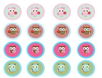Printable Chevron Owl Buttons