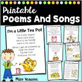 Printable Children's Songs, Poems, and Nursery Rhymes