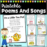 Printable Poems And Song Lyrics Pack