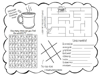 Printable Christmas Activity Page/Placemat -12 Days of Christmas Freebies-Day 10