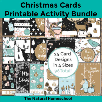 Printable Christmas Cards Set (96 total)