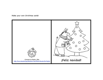 Printable Christmas Cards To Color.Printable Christmas Cards To Personalize Spanish Resources