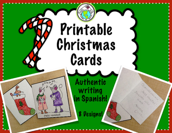 Printable Christmas Cards to Personalize Spanish Resources