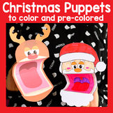 Printable Christmas Puppets Christmas Craft / Santa, Rudolph and Elf Craftivity