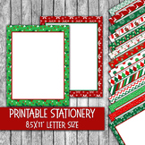 Printable Christmas Stationery - Christmas Letter Paper - 16 Papers - 8.5x11