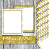 Printable Christmas Stationery - Gold Christmas Letter Paper - 16 Papers -8.5x11