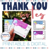 Printable Christmas thank you cards - Digital winter thank you notes
