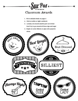 Printable Classroom Awards and Secret Ballot