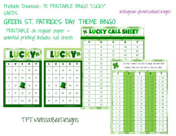 Printable Classroom Bingo Cards In Green St Patrick S Day Q 30 W 2