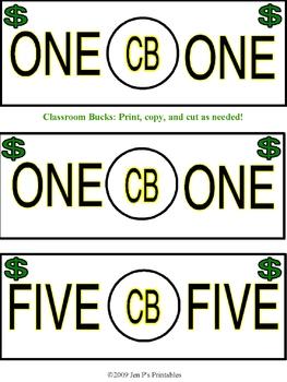 Printable Classroom Bucks