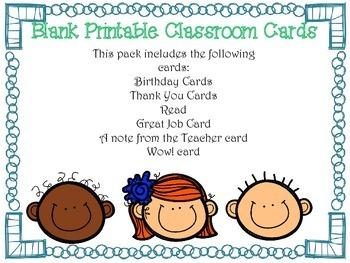 Printable Classroom Cards